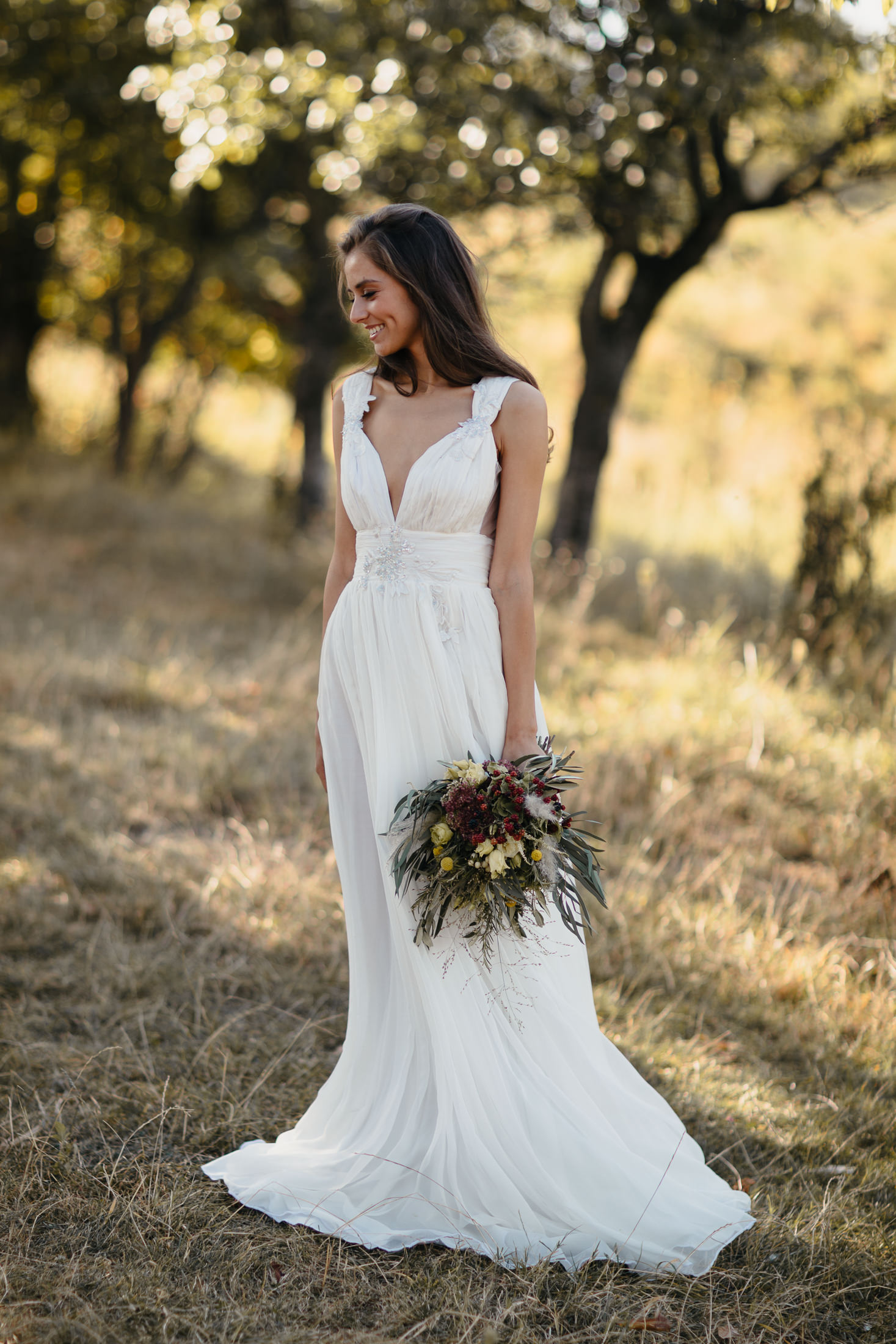 White Deer Wedding Dress Boho Session