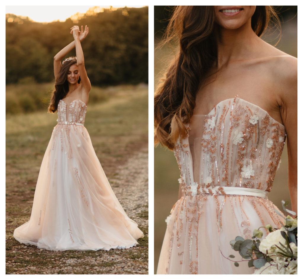 Oana Nutu Luxury Lux Rochie Mireasa Gold Aurie Broderie Manuala Boho Style Wedding Dress